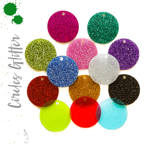 Acrylic Circle Glitter With hole (Package.Price)