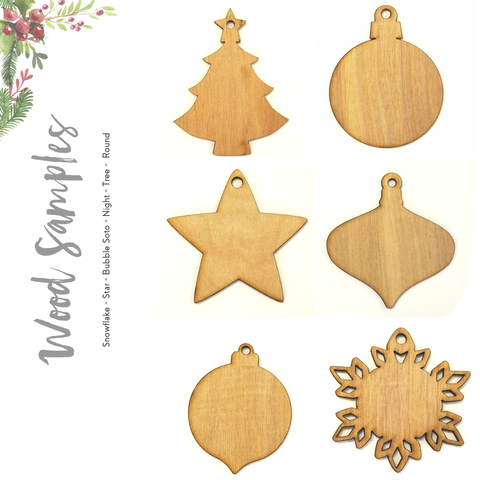 Wood Christmas Ornaments A Samples (Package 24 Units)