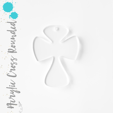Acrylic Keychains Cross Rounded