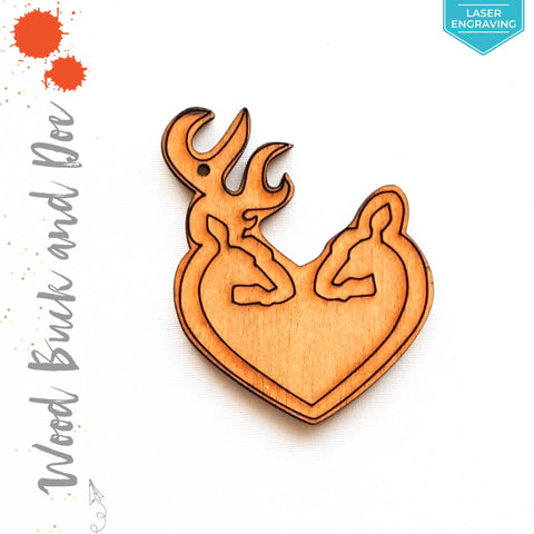 Laser Engraving Wood Keychain Buck & Doe (Package.Price)