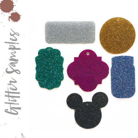 Glitter Acrylic Keychain Samples (Pack 24 Units)