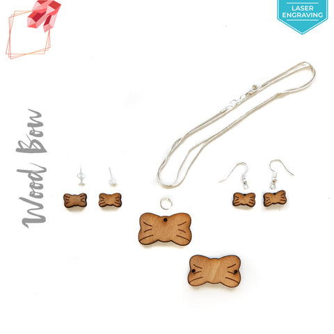 Laser Engraving Wood Jewelry Bow (Package.Price)