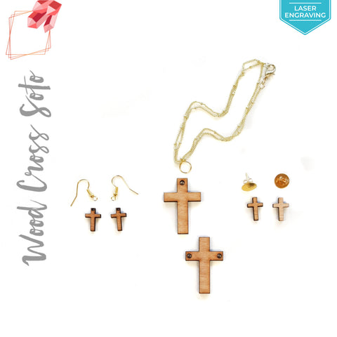 Laser Engraving Wood Jewelry Cross (Package.Price)