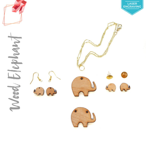 Laser Engraving Wood Jewelry Elephant (Package.Price)
