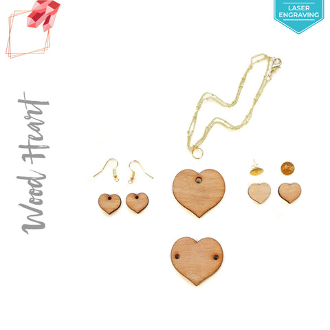 Laser Engraving Wood Jewelry Hearts (Package.Price)