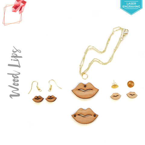 Laser Engraving Wood Jewelry Lips (Package.Price)