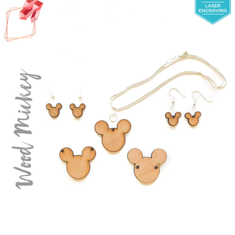 Laser Engraving Wood Jewelry Mickey Mouse (Package.Price)