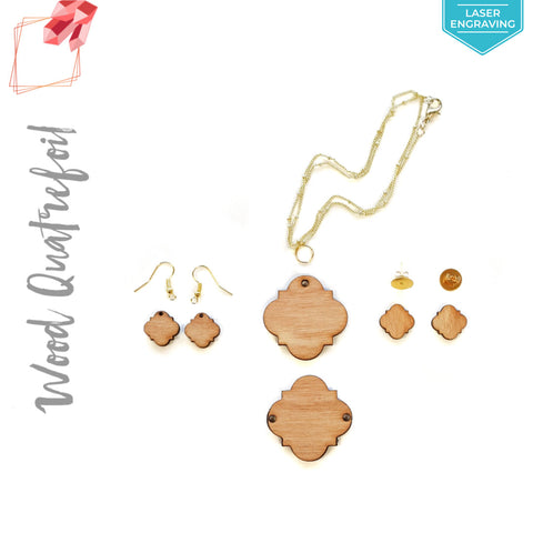 Laser Engraving Wood Jewelry Quatrefoil (Package.Price)