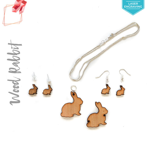 Laser Engraving Wood Jewelry Rabbit (Package.Price)