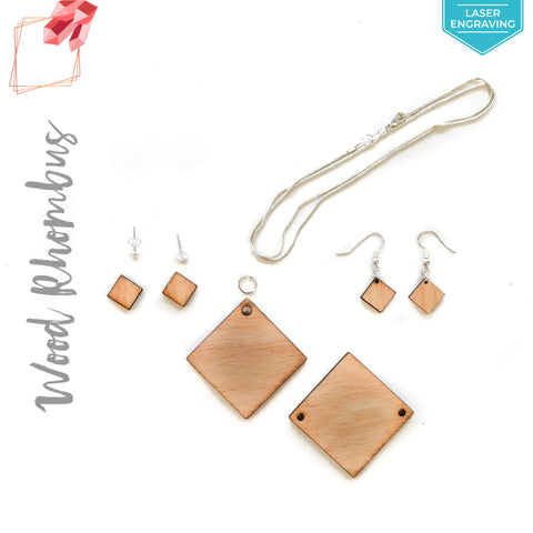 Laser Engraving Wood Jewelry Rhombus (Package.Price)