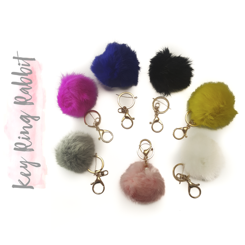 Key Ring Rabbit fur ball pompom (Package.Price)