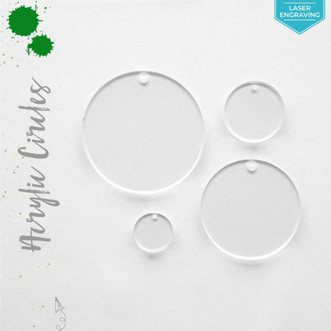 Laser Engraving Acrylic Circles Clear With Hole (Package.Price)