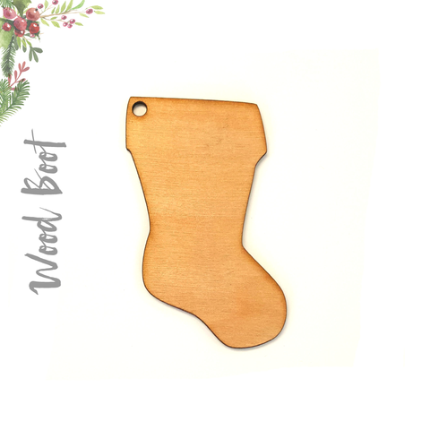 Wood Christmas Ornaments Boot (Package.Price)