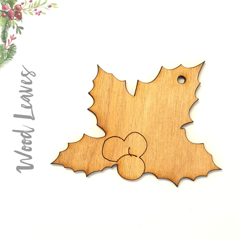 Wood Christmas Ornaments Leaves (Package.Price)