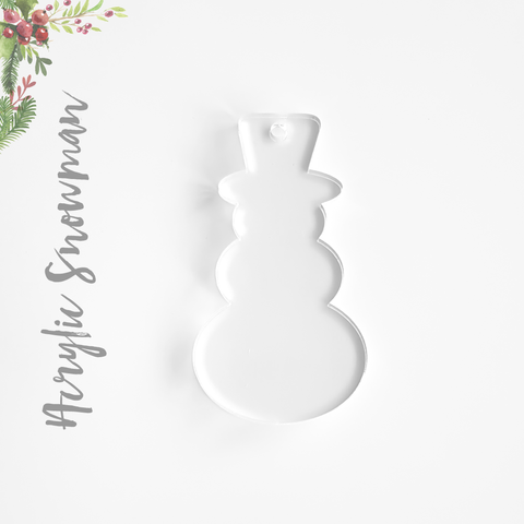 Acrylic Christmas Ornaments Large Snowman