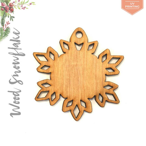 UV Printing Wood Christmas Ornaments Snowflake