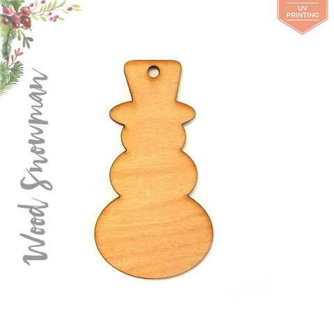 UV Printing Wood Christmas Ornaments Snowman
