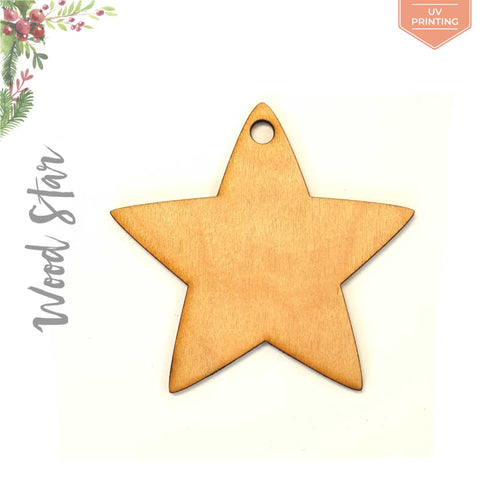 UV Printing Wood Christmas Ornaments Star
