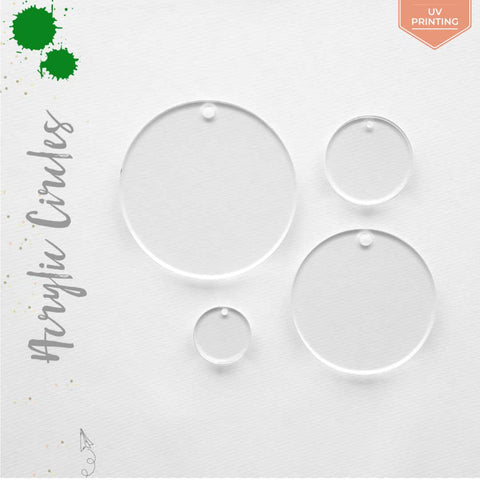 UV Printing Acrylic Circles Clear With Hole (Package.Price)