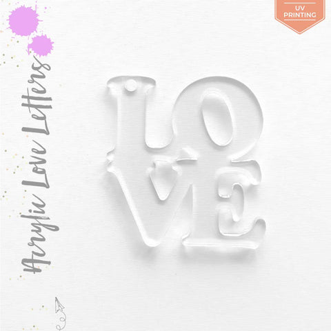 UV Printing Acrylic Keychains LOVE Letters