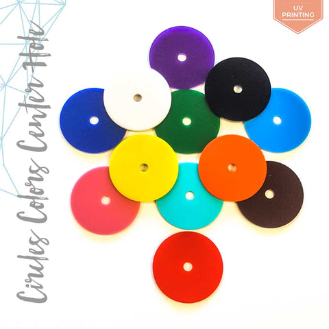 "UV Printing Acrylic Circle Colors With 1/4"" Center Hole (Package.Price)"