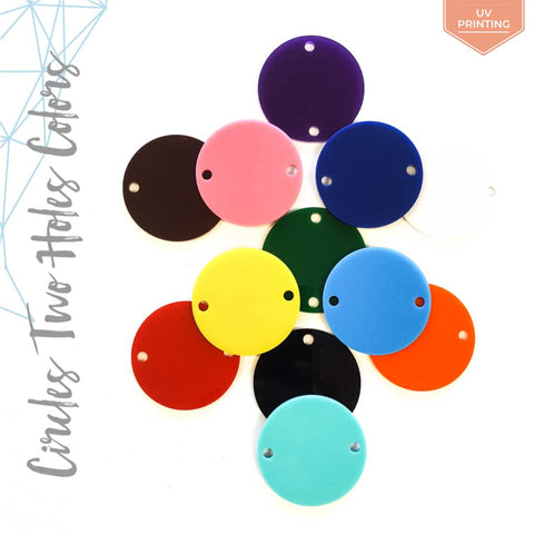 UV Printing Acrylic Circle Two Holes in Colors (Package.Price)