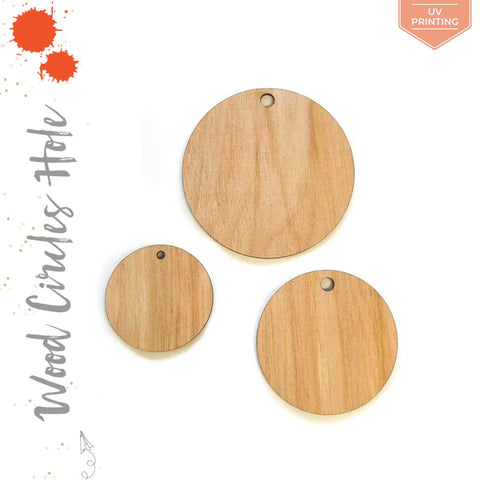 "UV Printing Wood Circles With Hole 3/16"" Thick (Package.Price)"