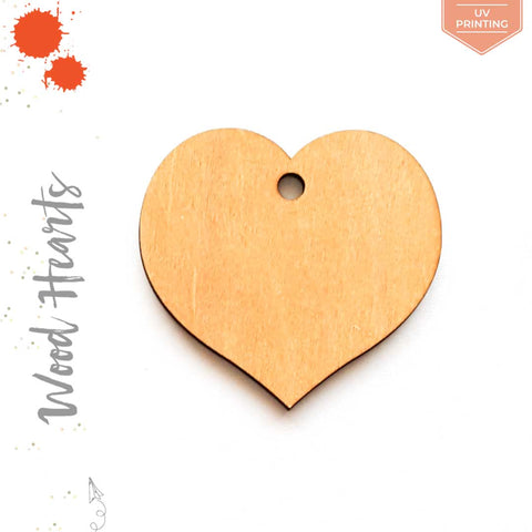 UV Printing Wood Keychain Hearts Center Hole (Package.Price)