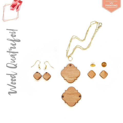 UV Printing Wood Jewelry Quatrefoil (Package.Price)