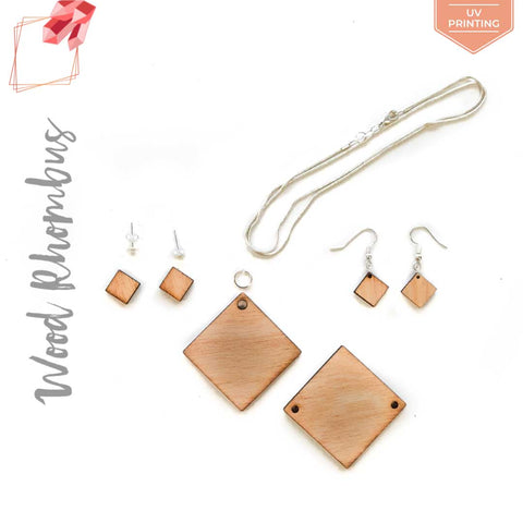 UV Printing Wood Jewelry Rhombus (Package.Price)
