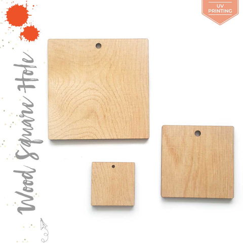 "UV Printing Wood Square 3/16"" Thick With Hole (Package.Price)"