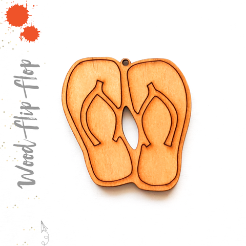 Wood Keychain Flip Flop Pair (Package.Price)