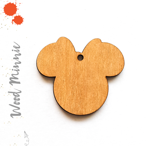 Wood Keychain Minnie Mouse (Package.Price)