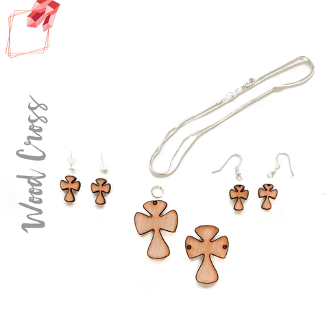 Wood Jewelry Cross Rounded (Package.Price)