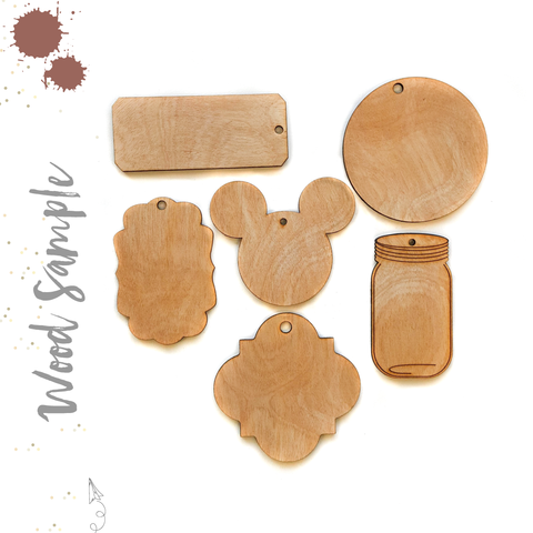 Wood Keychains A Samples (Package 24 Units)