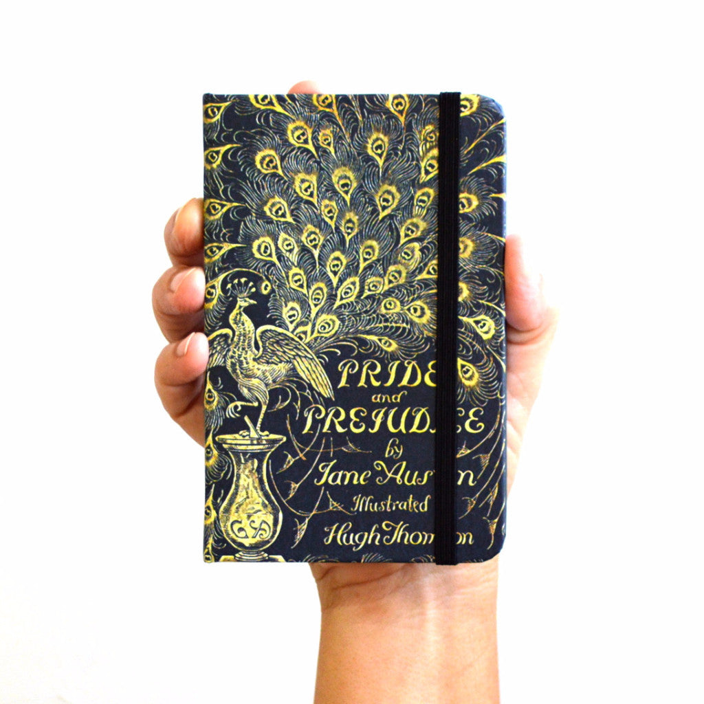 pride and prejudice hardcover notebook in hand from manuscript