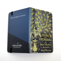 pride and prejudice hardcover notebook open face down from manuscript notebooks