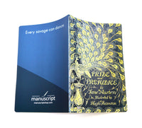 pride and prejudice large journal notebook open face down from manuscript