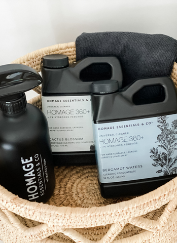 Homage Essentials' hydrogen peroxide based cleaning concentrates can clean almost anything! www.homageco.com