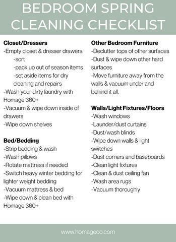 Homage Co. Bedroom Spring Cleaning Checklist www.homageco.com