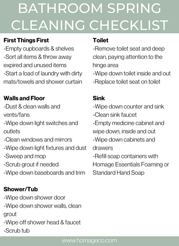 Bathroom Spring Cleaning Checklist from Homage Co. www.homageco.com