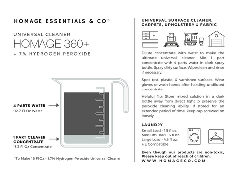 Here's a handy chart for diluting Homage 360+. www.homageco.com