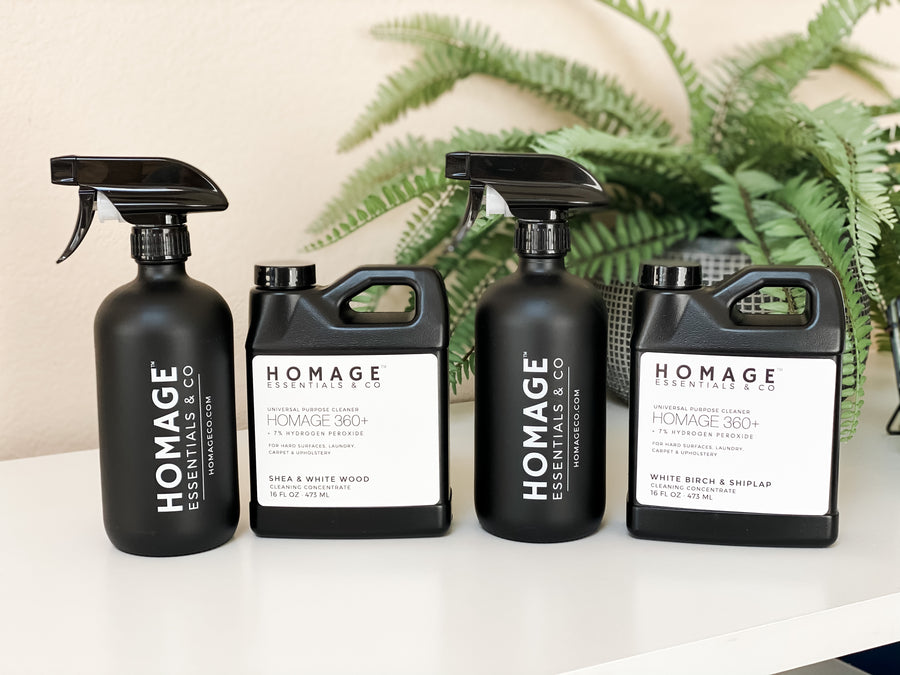 Homage 360+ 7% Hydrogen Peroxide Universal Cleaning Concentrate Starter Kit - Homage Essentials & Co