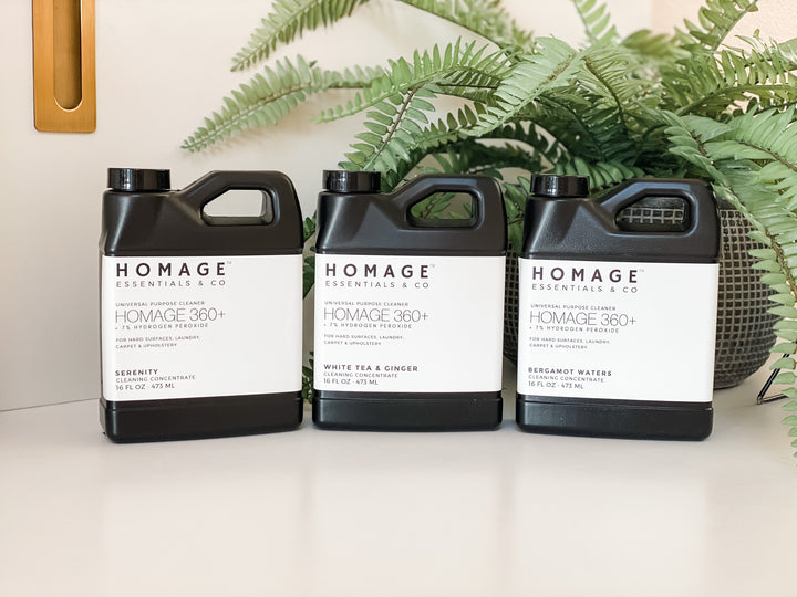 Homage 360+ 7% Hydrogen Peroxide Cleaner Concentrate 16oz - 3 Pack - Homage Essentials & Co