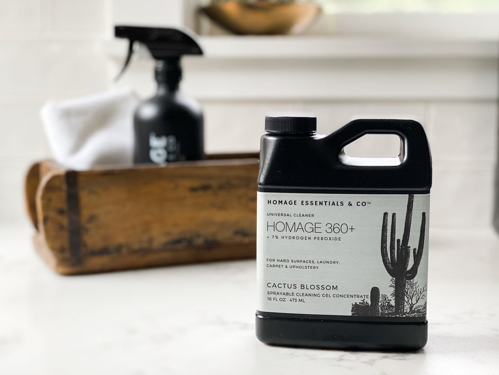 Homage 360+ 7% Hydrogen Peroxide Sprayable Cleaning Gel Concentrate (Various Scents) 16 oz - Homage Essentials & Co
