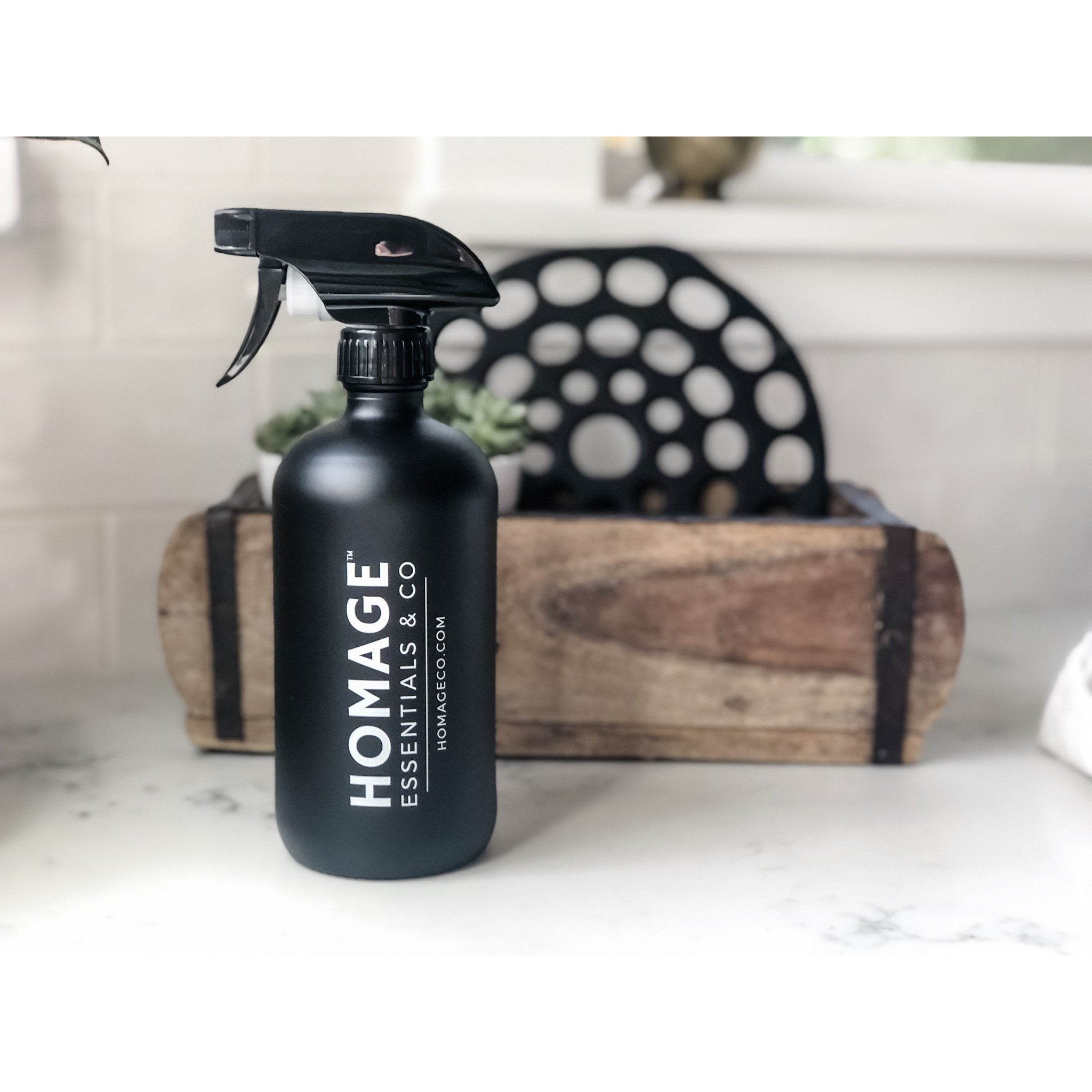 Matte Black Glass Spray Bottle