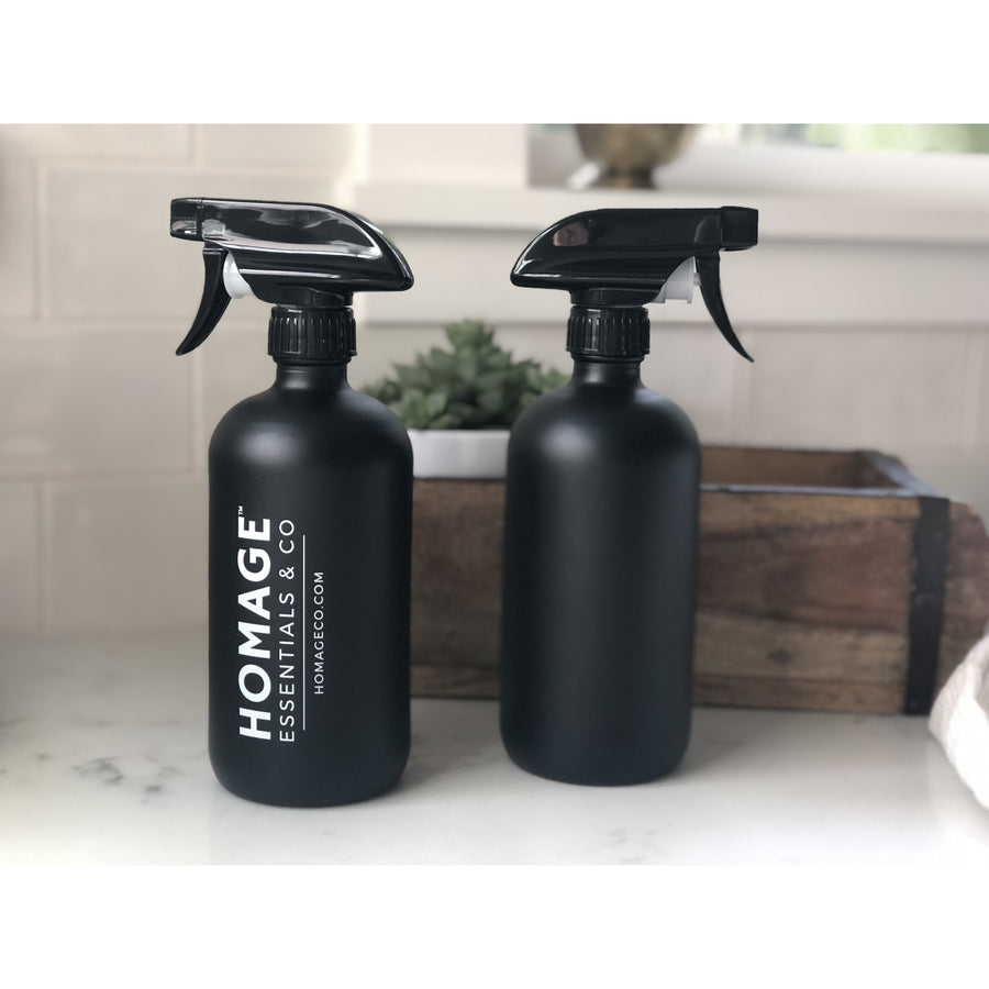 16-ounce Matte Black Glass Spray Bottle - Homage Essentials & Co