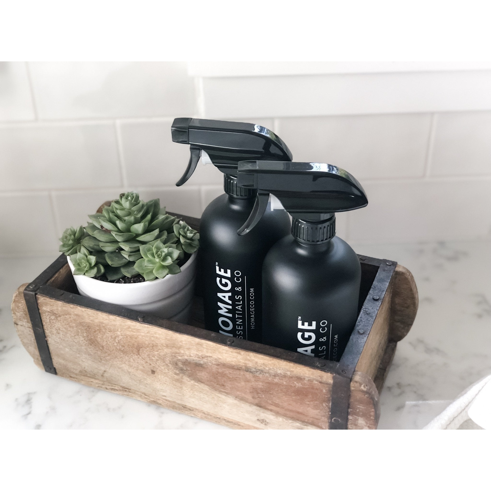 16-ounce Matte Black Glass Spray Bottle