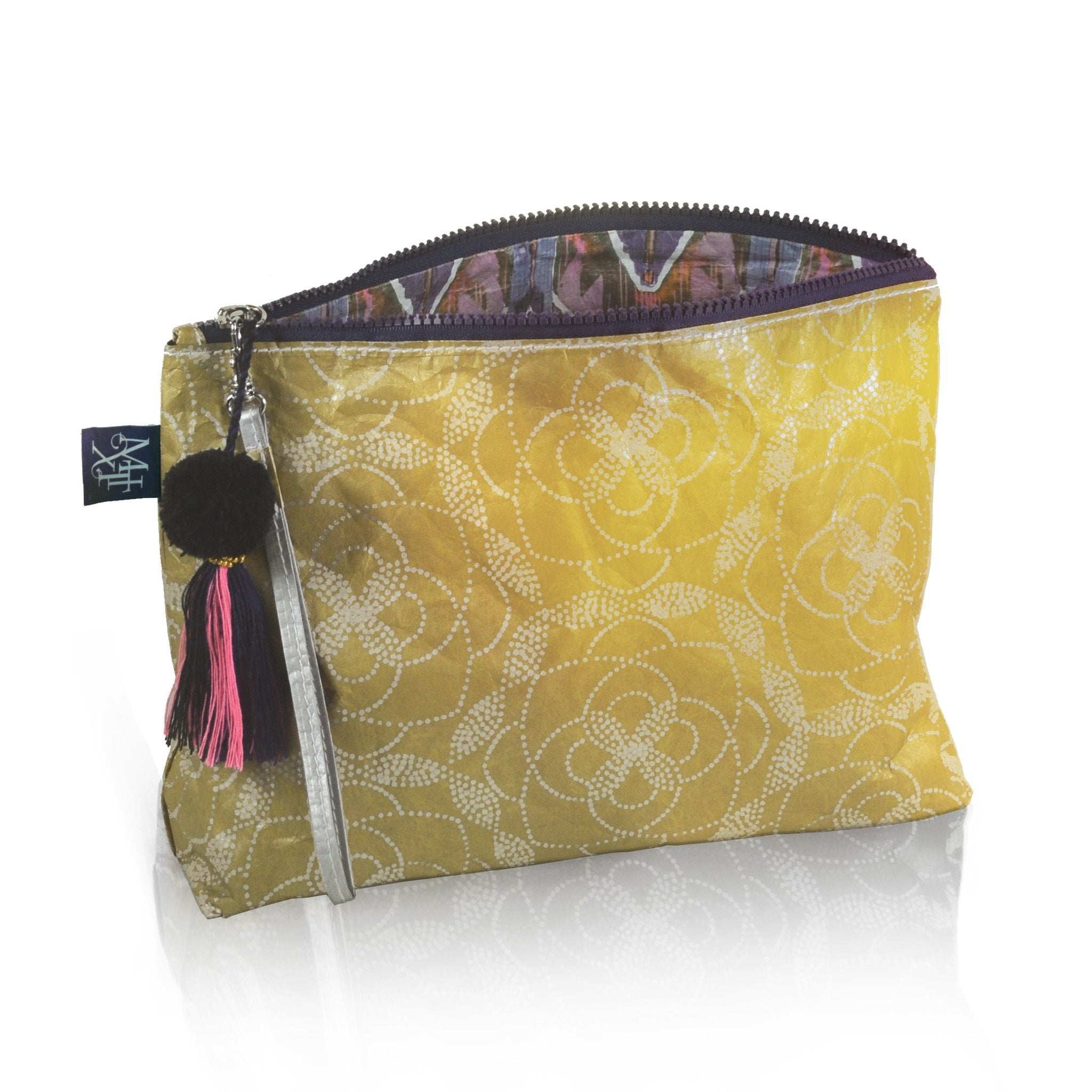 Floral Dot Metallic Reversible Pouch