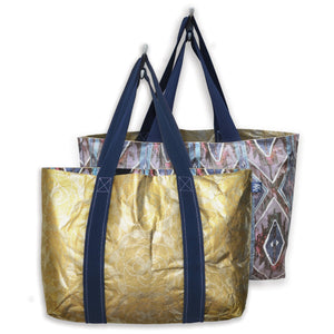 Floral Dot Metallic Reversible Tote Bag - Homage Essentials & Co